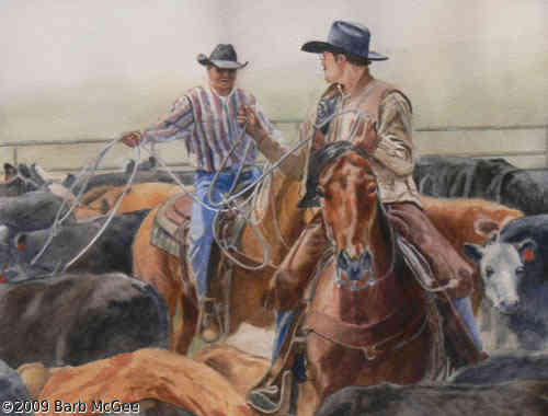 Branding Pen - Calf ropers making plans on which calf to catch
