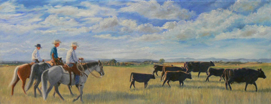 Bringing Up The ear | Western Art and Cattle Paintings