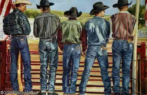 Body Language - Cowboys Standing by the Bucking Chute