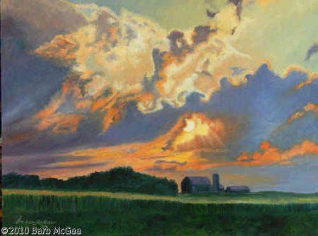 Gods Light - Sunset beyond the farm