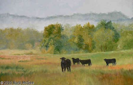 In The Cool Of The Day - Black cows in a foggy valley